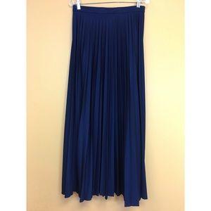 Vintage Navy Blue Long Pleated & Flared Skirt